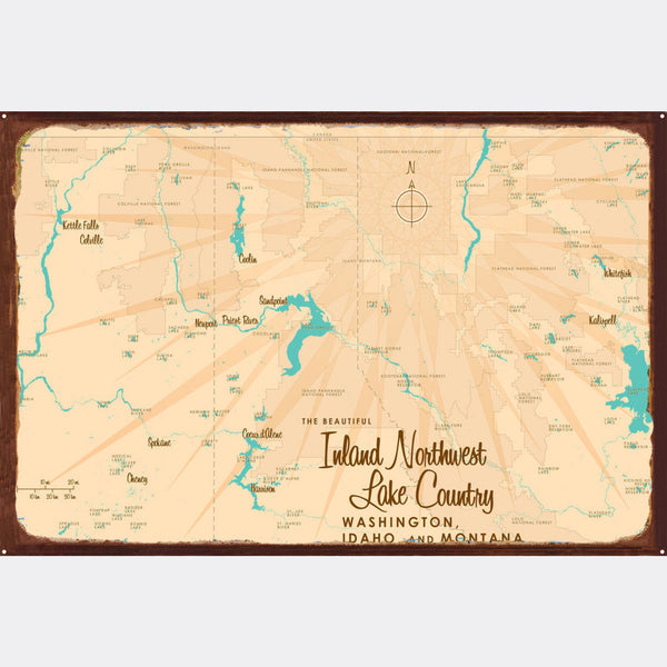 Inland Northwest Lake Country WA ID Montana, Rustic Metal Sign Map Art