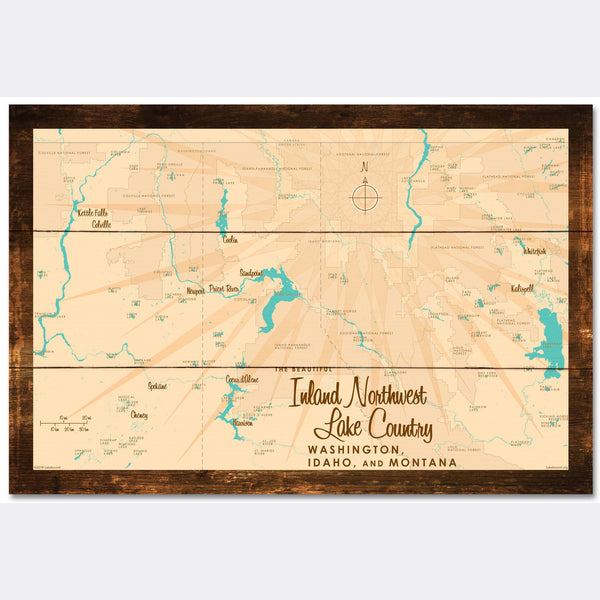 Inland Northwest Lake Country WA ID Montana, Rustic Wood Sign Map Art