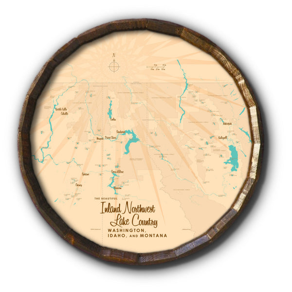 Inland Northwest Lake Country WA ID Montana, Barrel End Map Art