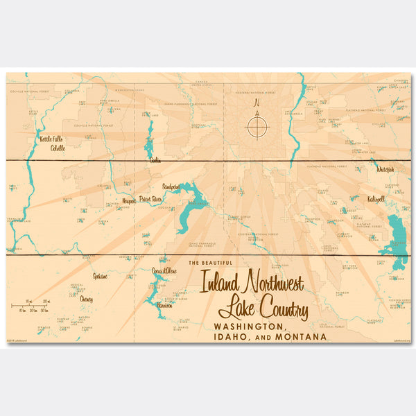 Inland Northwest Lake Country WA ID Montana, Wood Sign Map Art