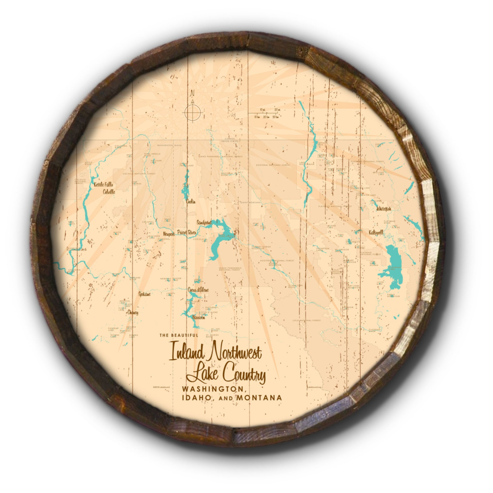 Inland Northwest Lake Country WA ID Montana, Rustic Barrel End Map Art