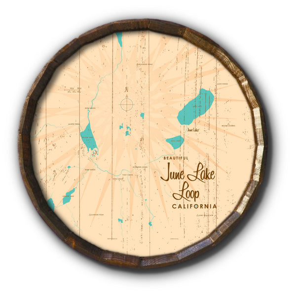 June Lake Loop California, Rustic Barrel End Map Art
