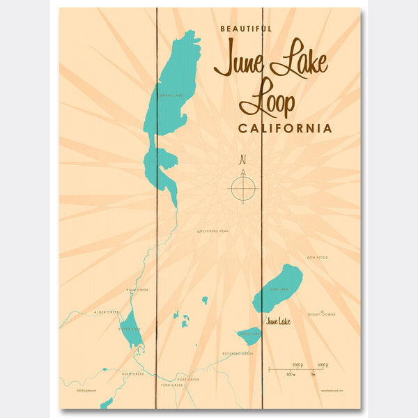 June Lake Loop California, Wood Sign Map Art