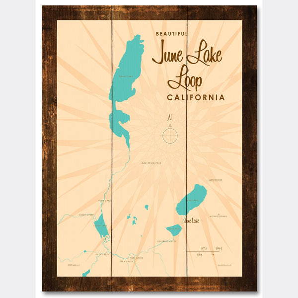 June Lake Loop California, Rustic Wood Sign Map Art
