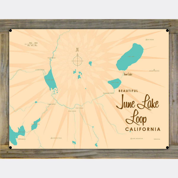 June Lake Loop California, Wood-Mounted Metal Sign Map Art