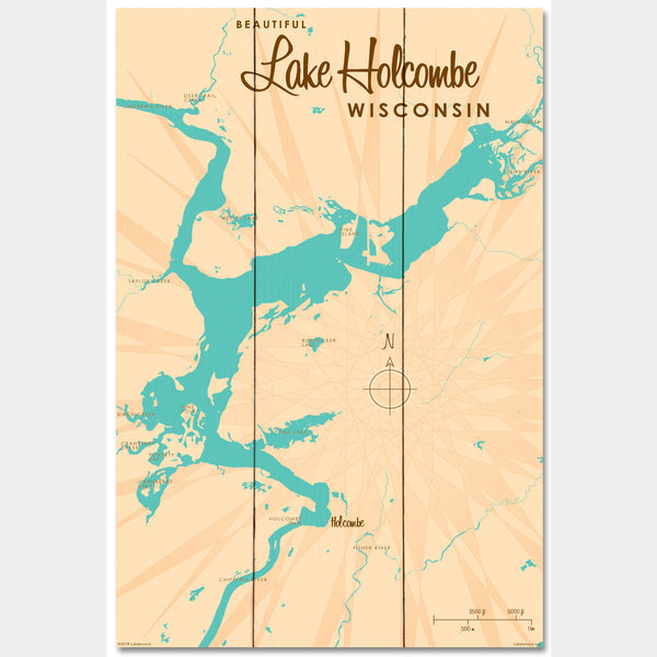 Lake Holcombe Wisconsin, Wood Sign Map Art