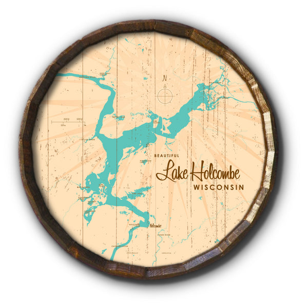 Lake Holcombe Wisconsin, Rustic Barrel End Map Art