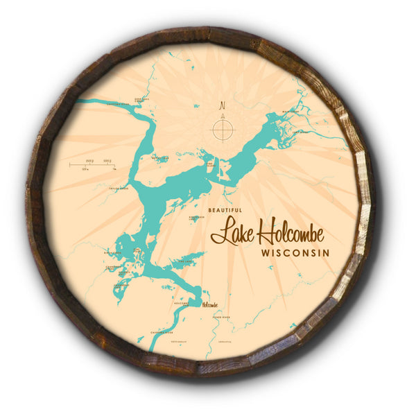 Lake Holcombe Wisconsin, Barrel End Map Art