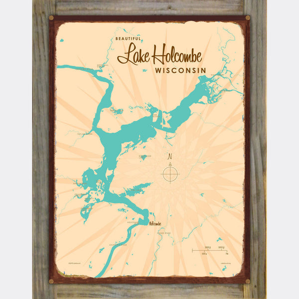 Lake Holcombe Wisconsin, Wood-Mounted Rustic Metal Sign Map Art