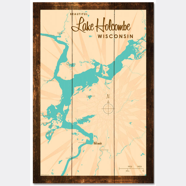 Lake Holcombe Wisconsin, Rustic Wood Sign Map Art