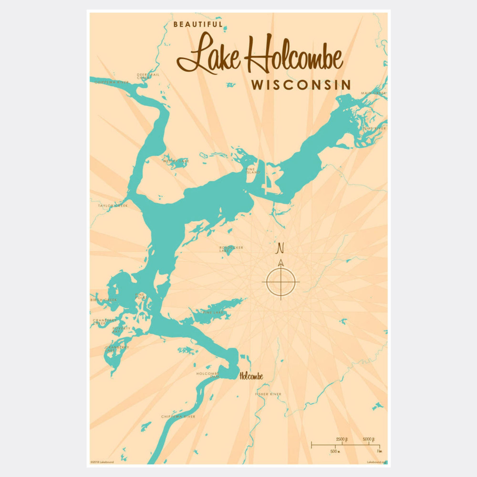 Lake Holcombe Wisconsin, Paper Print
