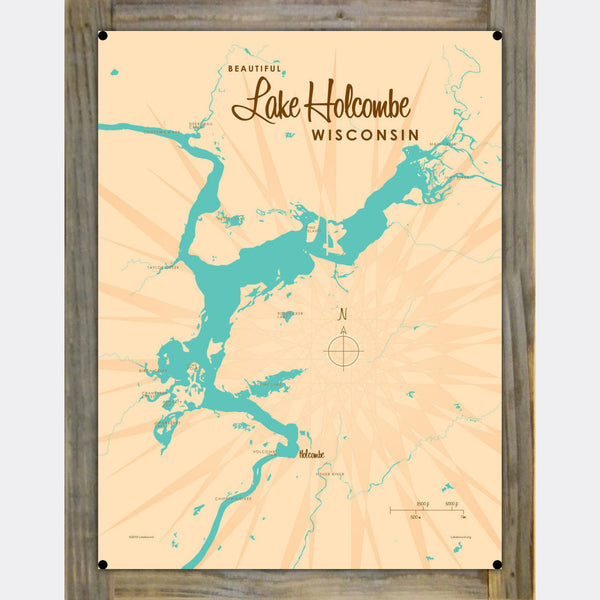 Lake Holcombe Wisconsin, Wood-Mounted Metal Sign Map Art