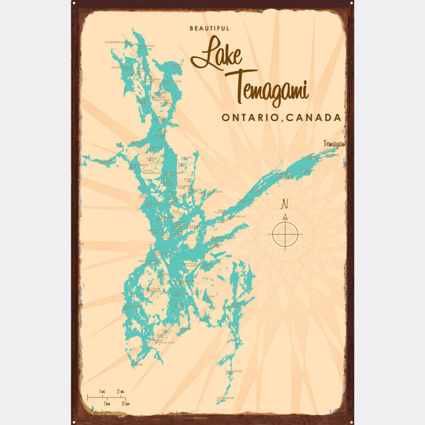 Lake Temagami Ontario, Rustic Metal Sign Map Art