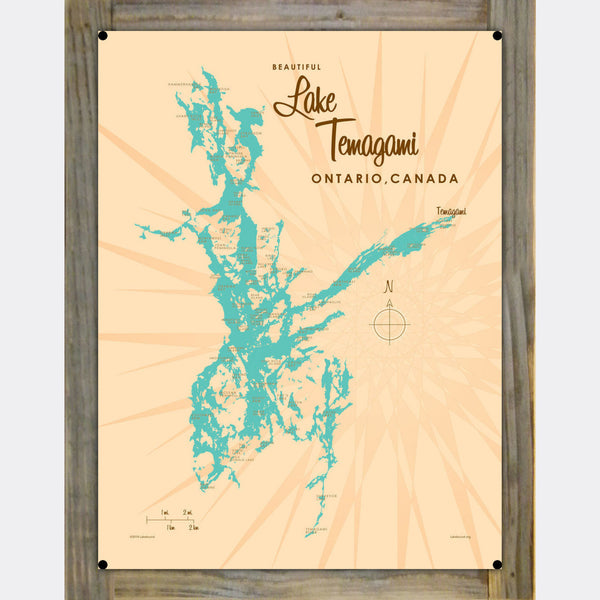 Lake Temagami Ontario, Wood-Mounted Metal Sign Map Art