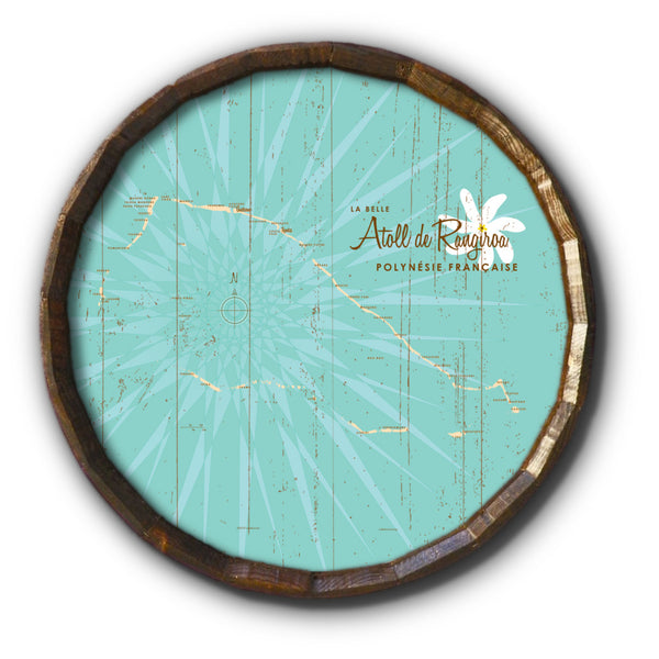 Rangiroa Atoll French Polynesia, Rustic Barrel End Map Art