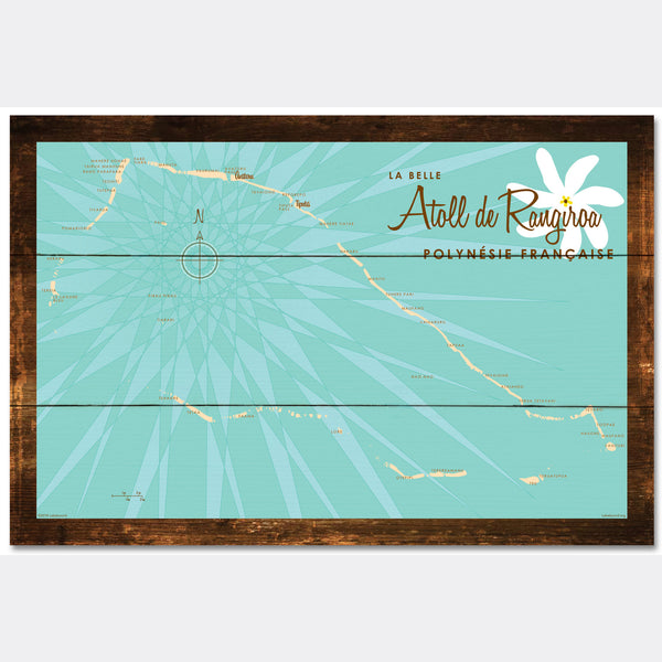 Rangiroa Atoll French Polynesia, Rustic Wood Sign Map Art