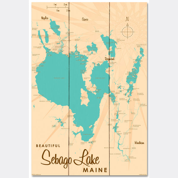 Sebago Lake Maine, Wood Sign Map Art
