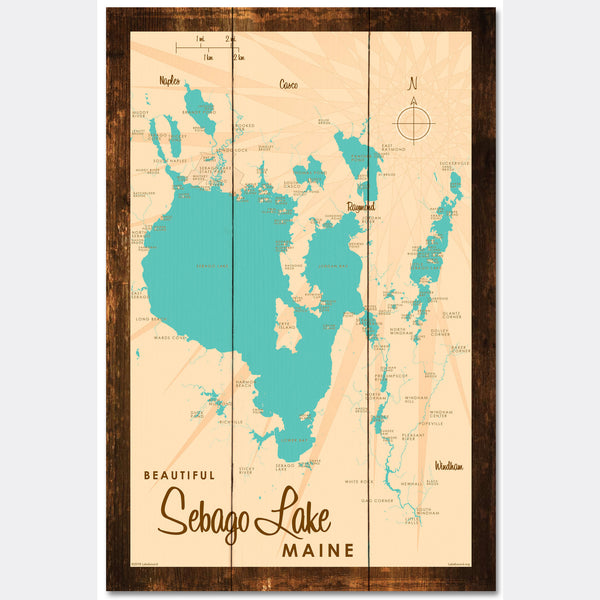 Sebago Lake Maine, Rustic Wood Sign Map Art
