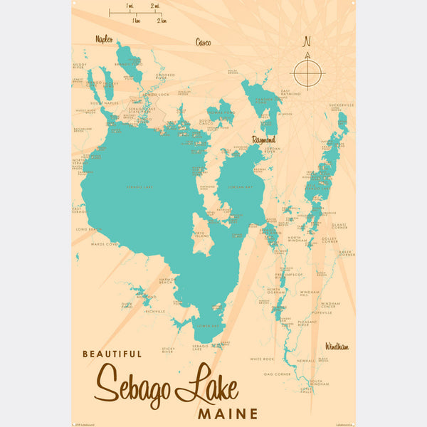 Sebago Lake Maine, Metal Sign Map Art