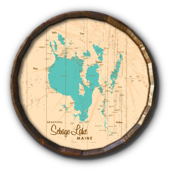 Sebago Lake Maine, Rustic Barrel End Map Art