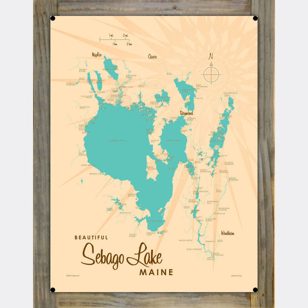 Sebago Lake Maine, Wood-Mounted Metal Sign Map Art