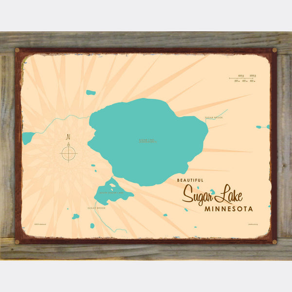 Sugar Lake Minnesota, Wood-Mounted Rustic Metal Sign Map Art