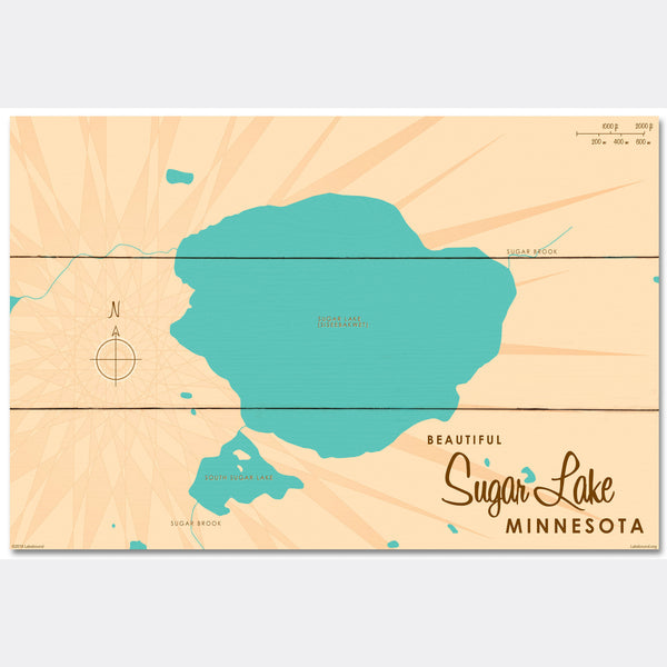 Sugar Lake Minnesota, Wood Sign Map Art