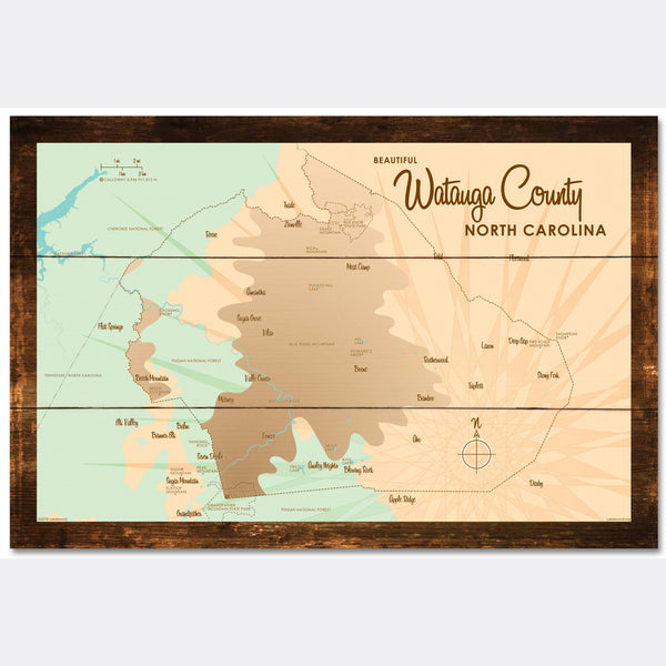 Watauga County North Carolina, Rustic Wood Sign Map Art
