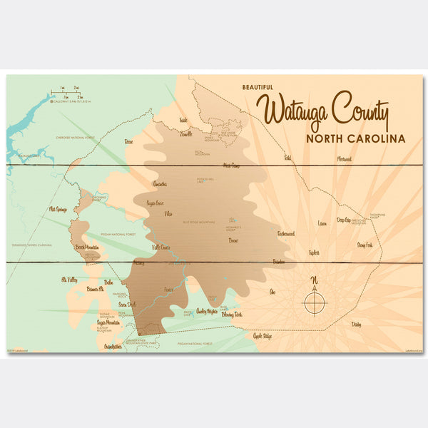 Watauga County North Carolina, Wood Sign Map Art