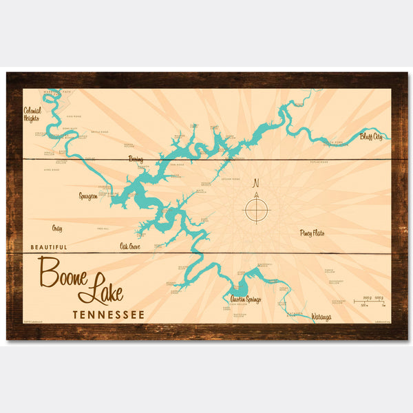 Boone Lake Tennessee, Rustic Wood Sign Map Art