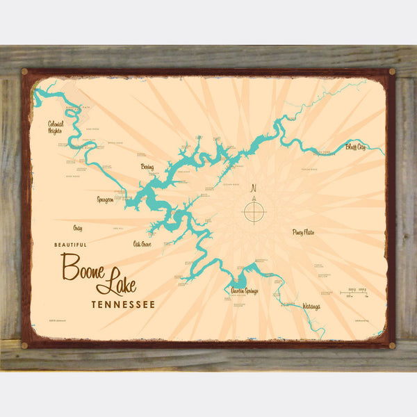 Boone Lake Tennessee, Wood-Mounted Rustic Metal Sign Map Art