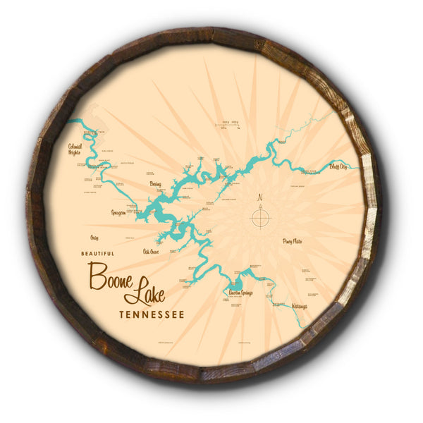 Boone Lake Tennessee, Barrel End Map Art