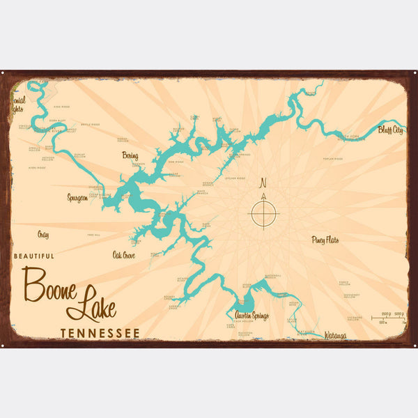 Boone Lake Tennessee, Rustic Metal Sign Map Art