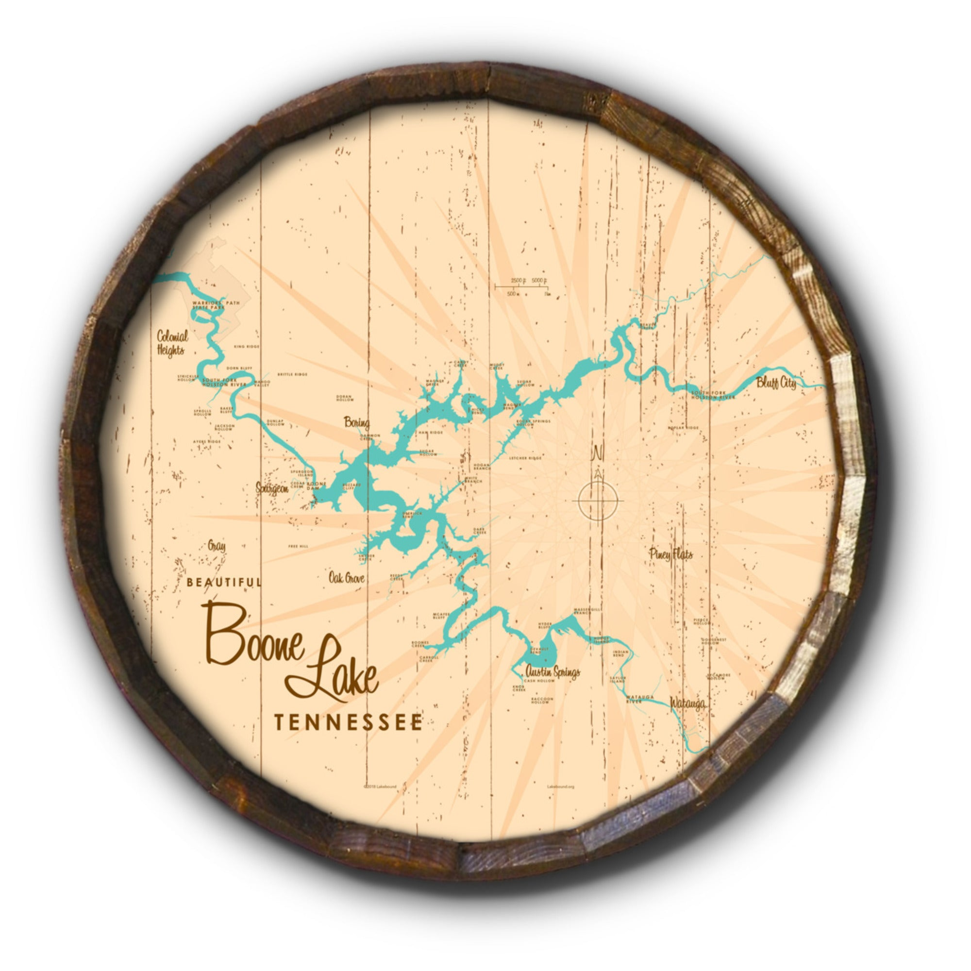 Boone Lake Tennessee, Rustic Barrel End Map Art
