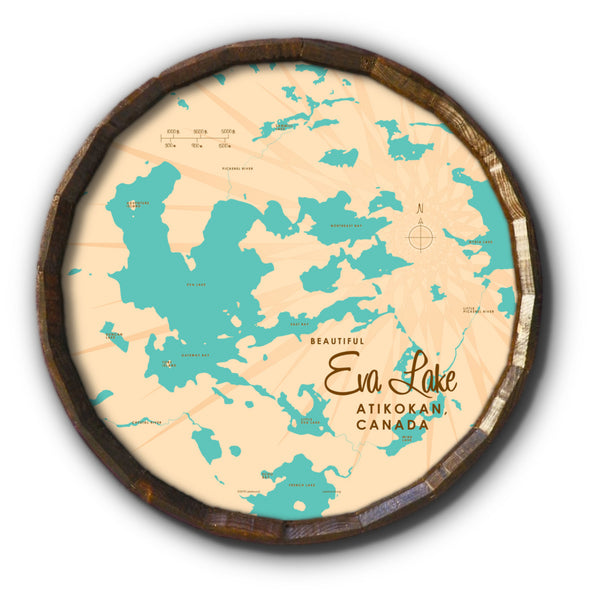 Eva Lake Ontario, Barrel End Map Art