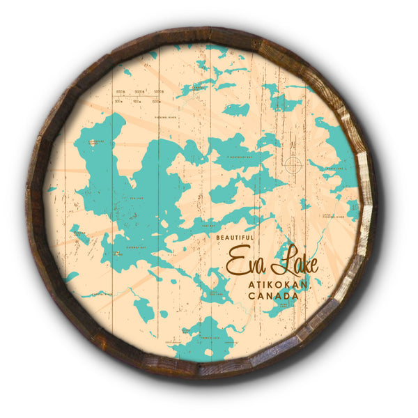 Eva Lake Ontario, Rustic Barrel End Map Art