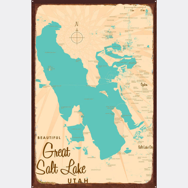 Great Salt Lake Utah, Rustic Metal Sign Map Art