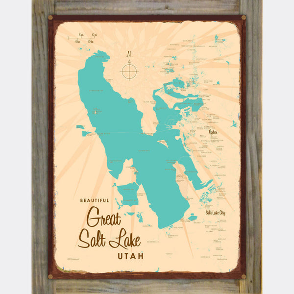 Great Salt Lake Utah, Wood-Mounted Rustic Metal Sign Map Art