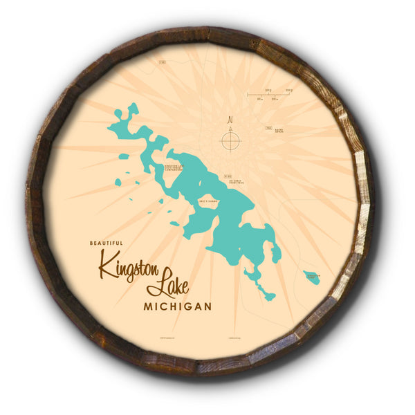 Kingston Lake Michigan, Barrel End Map Art