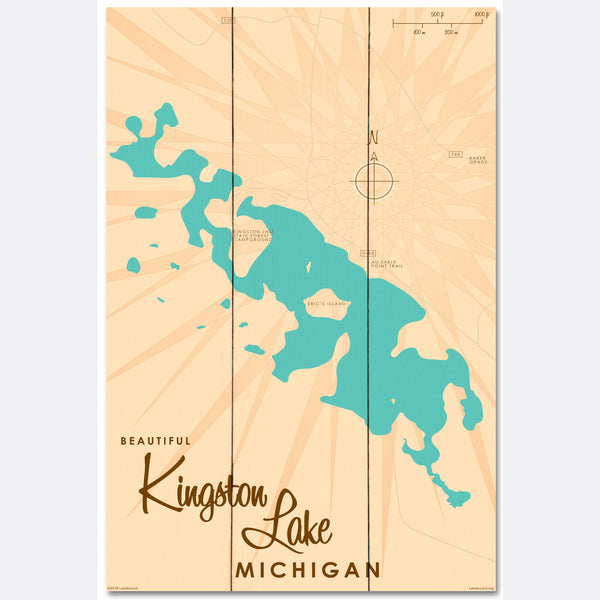 Kingston Lake Michigan, Wood Sign Map Art
