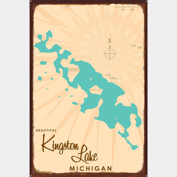 Kingston Lake Michigan, Rustic Metal Sign Map Art