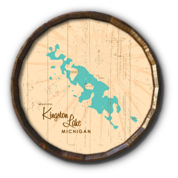 Kingston Lake Michigan, Rustic Barrel End Map Art