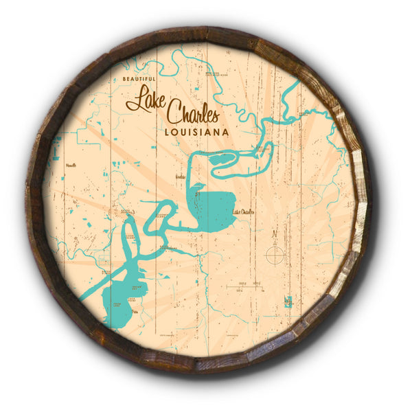 Lake Charles Louisiana, Rustic Barrel End Map Art