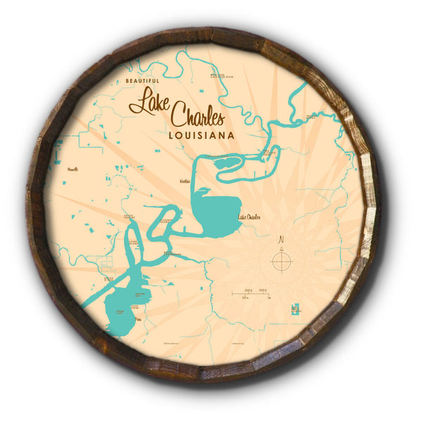 Lake Charles Louisiana, Barrel End Map Art