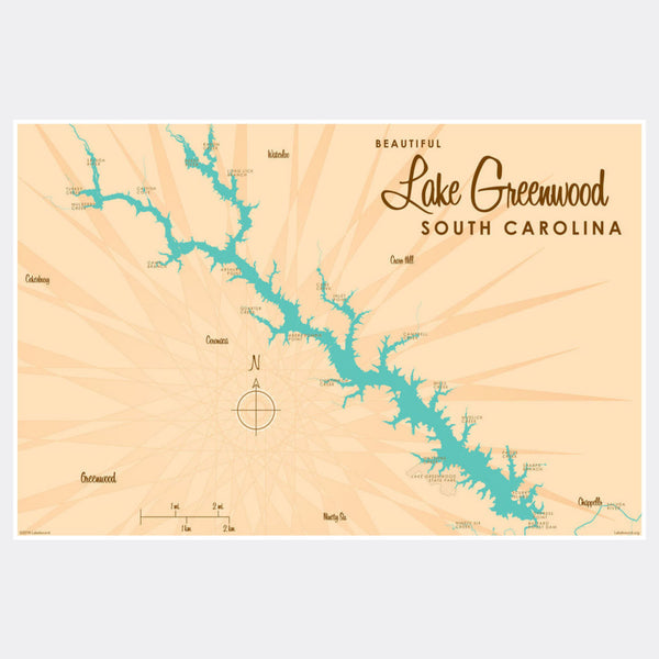 Lake Greenwood South Carolina, Paper Print
