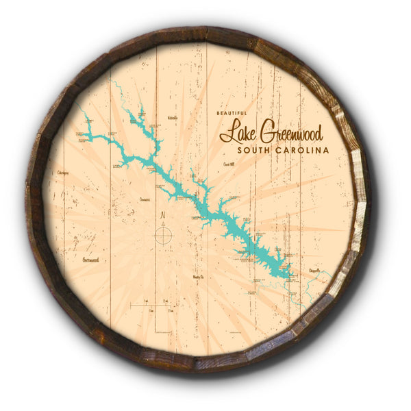 Lake Greenwood South Carolina, Rustic Barrel End Map Art