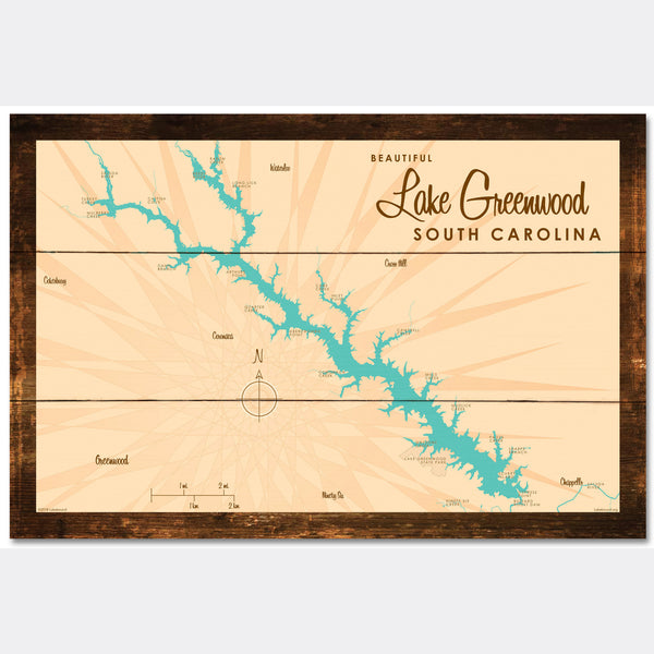 Lake Greenwood South Carolina, Rustic Wood Sign Map Art