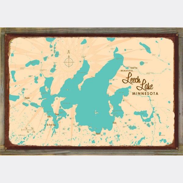 Leech Lake Minnesota, Wood-Mounted Rustic Metal Sign Map Art