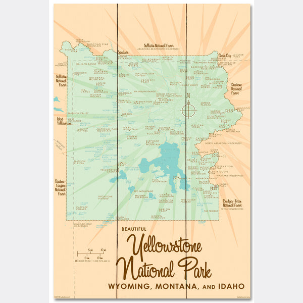 Yellowstone National Park WY MT Idaho, Wood Sign Map Art