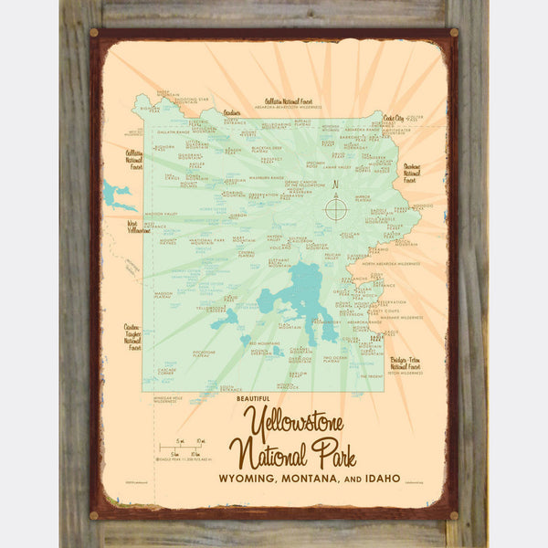 Yellowstone National Park WY MT Idaho, Wood-Mounted Rustic Metal Sign Map Art